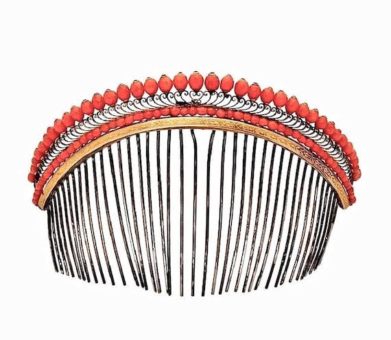 French Empire Coral Diadème Tiara Hair Comb, Regen