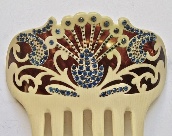 Art Nouveau Rhinestone Two-Tone Hair Comb, Antique