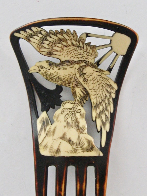Art Deco Figural Eagle & Sun Hair Comb, Antique Bi