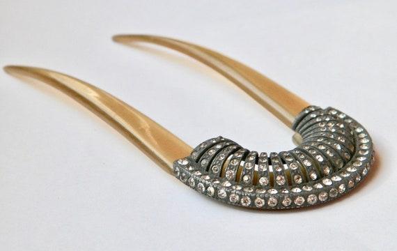 Georgian Era Iron & Crystal Horn Hair Comb, Regenc