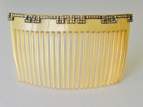 Edwardian Blonde Horn Hair Comb, Arts Crafts Comb,
