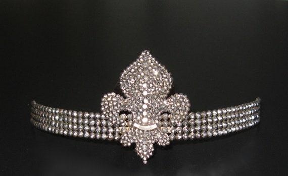 Antique Fleur-de-Lys Cut Steel Tiara, Antique Fren
