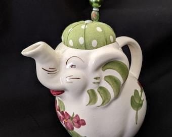 Sewing Room Decor, Vintage Ceramic Elephant Pincushion Japan Figural Pincushion Sewing Notions Needle Holder