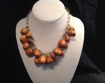 Vintage Necklace Real Acorns Plastic Chain