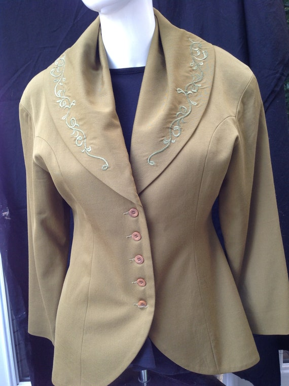 Vintage Mitsumine Fitted Wool Jacket  Shawl Collar