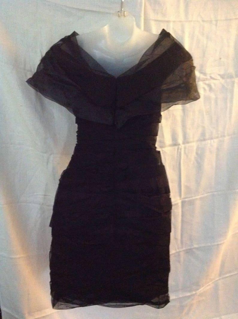 Vintage Etienne Brunel Dress Ruched Overlay Netting Size 36 France
