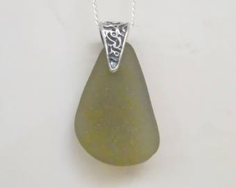 Genuine Sea Glass Pendant Necklace. Mermaids Tear Pendant. Beach Glass Jewelry. Rare Sea Glass. Silver Necklace. Gift For Her.
