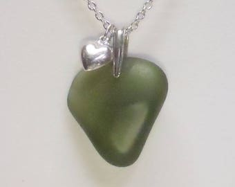 Sea glass necklace. Genuine sea glass pendant necklace. Beach glass pendant. Sea glass jewelry. Silver charm necklace. Gift for her.