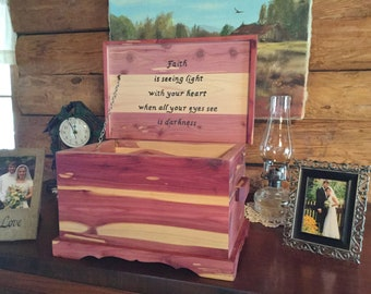 Cedar Urns and Letter Chests with Custom Wood Burned Art