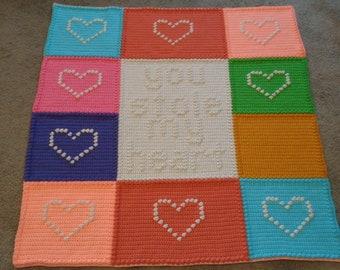 Handmade Textured Crochet Afghan, Word Blanket, Throw
