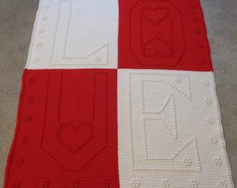 Handmade Textured Crochet Afghan, Word Blanket,Throw
