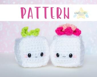 Crochet Cube Amigurumi Pattern, cute tofu doll, crochet plush pattern, instant download crochet pattern, digital pattern cute amigurumi