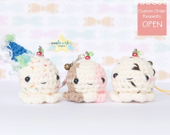 Ice Cream Amigurumi Octopus Keychain, cute crochet bag charm, kawaii backpack accessory, adorable sweet purse decoration, phone dessert deco