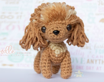 Poodle Amigurumi Crochet Dog, ready-made cute plushie, dog stuffed animal desk buddy room decor, handmade puppy plush, gifts for dog lover
