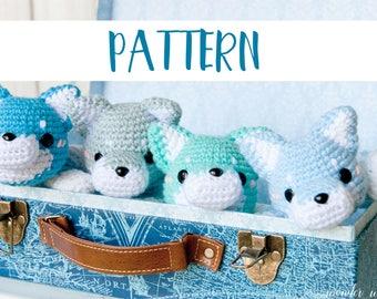 Amigurumi Wolf Crochet Pattern, cute stuffed animal, digital instructions, make your own kawaii plush, diy plushie, wonder wishes studio