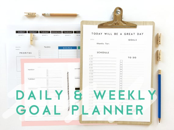 daily weekly goal printable planner kit personalized etsy