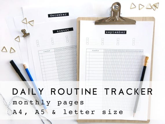 daily routine tracker monthly habit journal daily habit etsy