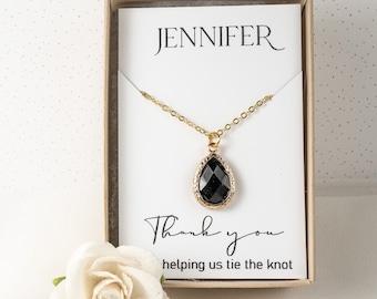 Bridesmaid Black Necklace - Black Gold Teardrop Necklace - Bridesmaid Gift - Black Wedding Accessories - Bridesmaid Jewelry - Bridal Jewelry