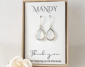 White Opal Bridesmaid Earrings - Silver Opal Earrings - Bridesmaid Gift - Opal Wedding Jewelry - Bridesmaid Earrings - Bridesmaid Jewelry