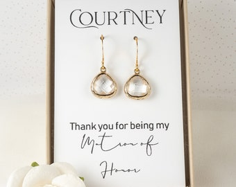 Crystal Bridesmaid Earrings - Tiny Gold Clear Earrings - April Birthstone Gold Earrings - Bridesmaid Jewelry - Crystal Wedding Jewelry