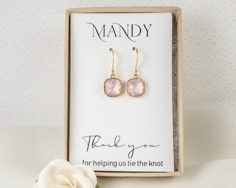 Pink Bridesmaid Earrings - Gold Pink Opal Square Earrings - Pink Wedding Jewelry - Bridesmaid Jewelry - Bridesmaid Earrings - Pink Earrings
