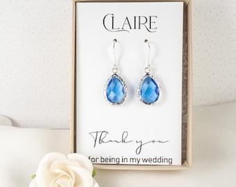 Bridesmaid Blue Earrings - Sapphire Blue Silver Teardrop Earrings - Blue Wedding Jewelry - Bridesmaid Earrings - Blue Bridesmaid Jewelry