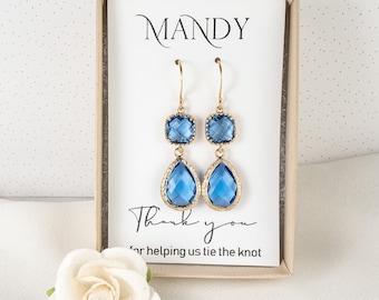 Bridesmaid Blue Earrings - Long Sapphire Blue Gold Earrings - Blue Wedding Jewelry - Bridesmaid Earrings - Blue Bridesmaid Jewelry