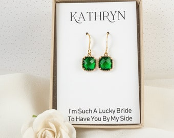 Emerald Green Bridesmaid Earrings - Square Emerald Gold Earrings - Emerald Wedding Jewelry - Bridesmaid Jewelry - Green Silver Earrings