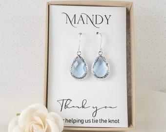 Light Blue Bridesmaid Earrings - Dusty Blue Earrings - Pale Blue Silver Earrings - Bridesmaid Gift - Bridesmaid Jewelry Blue Wedding Jewelry