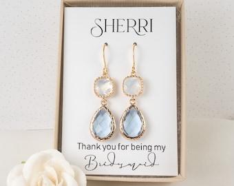 Long Light Blue Bridesmaid Earrings - Dusty Blue Earrings - White Opal Teardrop Earrings - Bridesmaid Jewelry - Blue Wedding Jewelry