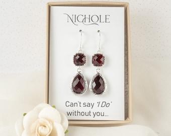 Long Burgundy Silver Earrings - January Birthstone Garnet Earrings - Bridesmaid Earrings - Burgundy Wedding Jewelry - Bridesmaid Gift