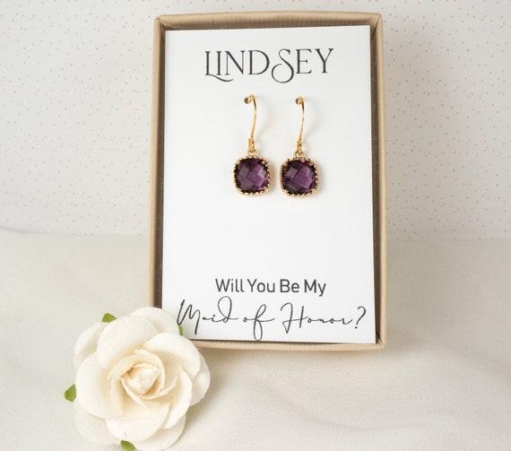 Bridal Party Gifts Set of 5 Purple Gold Earrings Bridesmaid Purple Plum Earrings Bridesmaid Jewelry Gift Voilet ES5