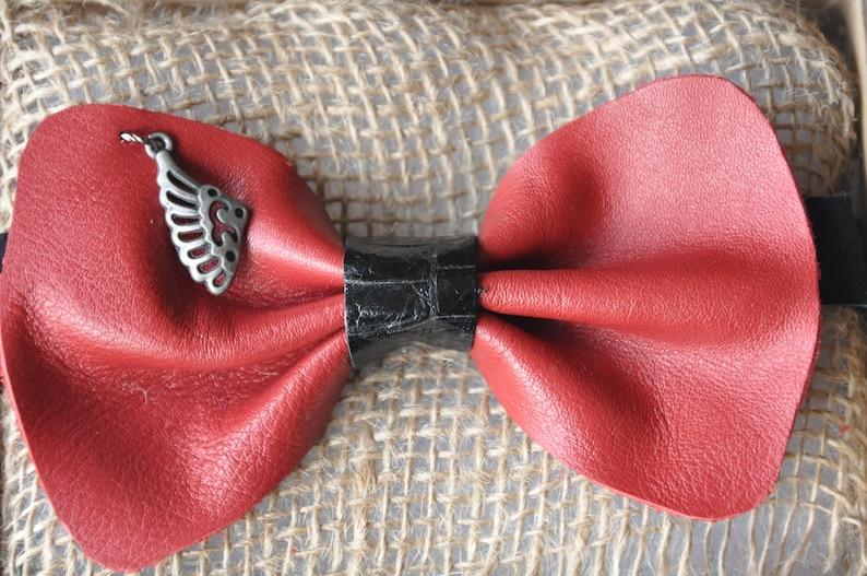 Handmade bow tie recycled genuine leather adjustable Velcro fastener