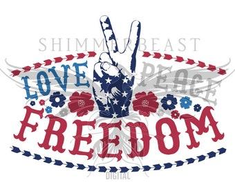 Love, Peace, Freedom SVG   Boho SVG   4th of july svg   fourth of july svg   july 4th svg   july 4th cut file   4th of july svg file   dxf