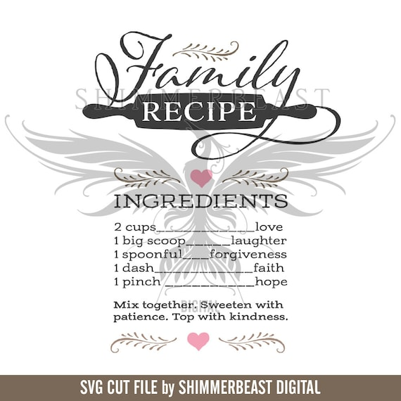family recipe svg family quote svg family svg home svg etsy