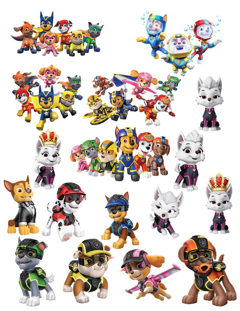 image about Paw Patrol Printable identify Paw Patrol Printouts Instantaneous Down load Cutouts Clipart Photographs Printable Centerpieces Decorations Mission Paw Sea Tremendous Air Pups Spy Sweetie