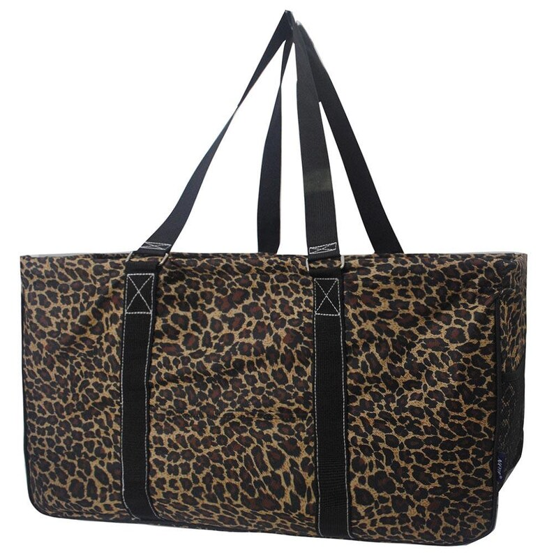 TEACHER Bag Monogrammed Leopard Utility Tote Summer Tote Laundry tote Camping tote Large utility tote Carryall Tote -Car Organizer