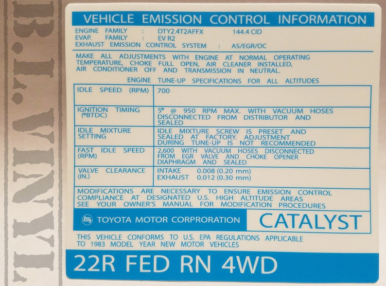 22R Vehicle Emission Control Information (1983-Inspired)