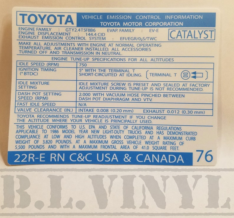 1986 Toyota 22RE C&C Vehicle Emission Control Information Decal (RN  USA/CANADA)