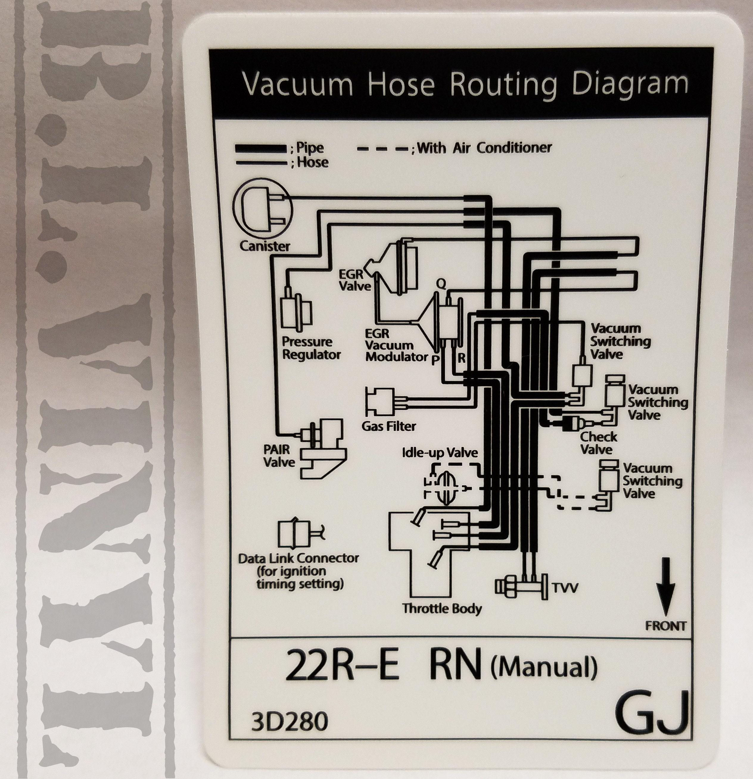 22RE Vacuum Hose Routing Diagram Decal Manual   Etsy
