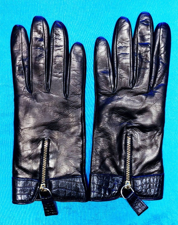 Neiman Marcus Black Leather Gloves ~ Size 8