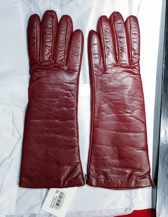 Bloomingdales Red Leather Gloves ~ Size 7