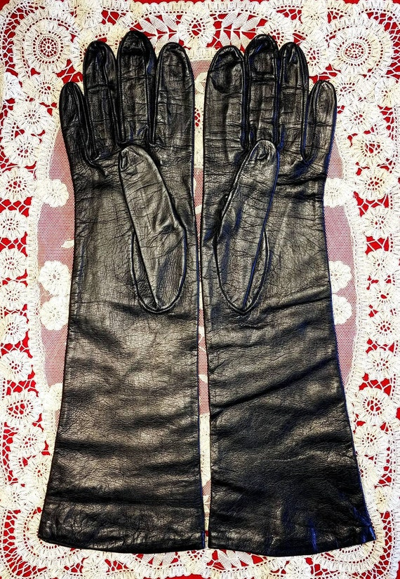 Superb Black Leather Gloves ~.Size 8