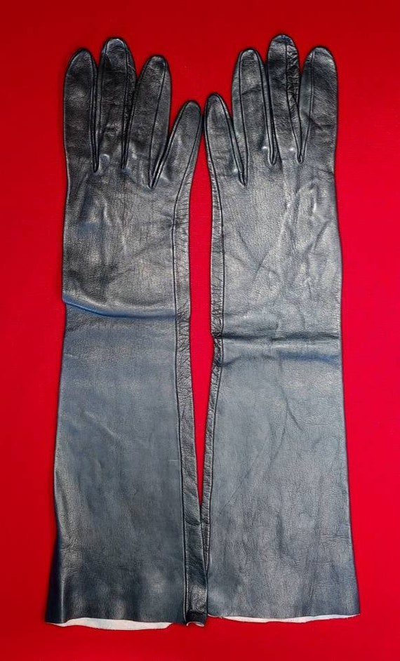 Fownes Black Kid Elbow Gloves ~ Size 8