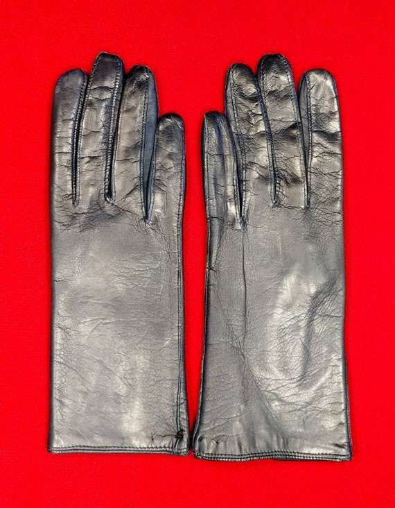 Macy's Blue Kid Leather Gloves ~ Size 8