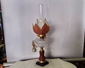1800 39 s Kerosene Pedastal Lamp w Dual Color, Dual Layer Slag Stained Glass, Bent Glass Blossom Shade, Screw In Electric Adapter, 649.95