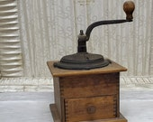 1800 39 s Dadoed Wood and Cast Iron Primitive Lap Coffee Grinder, Single Grounds Drawer, Hand Cranked, FREE Shipping, Only 149.95 Complete