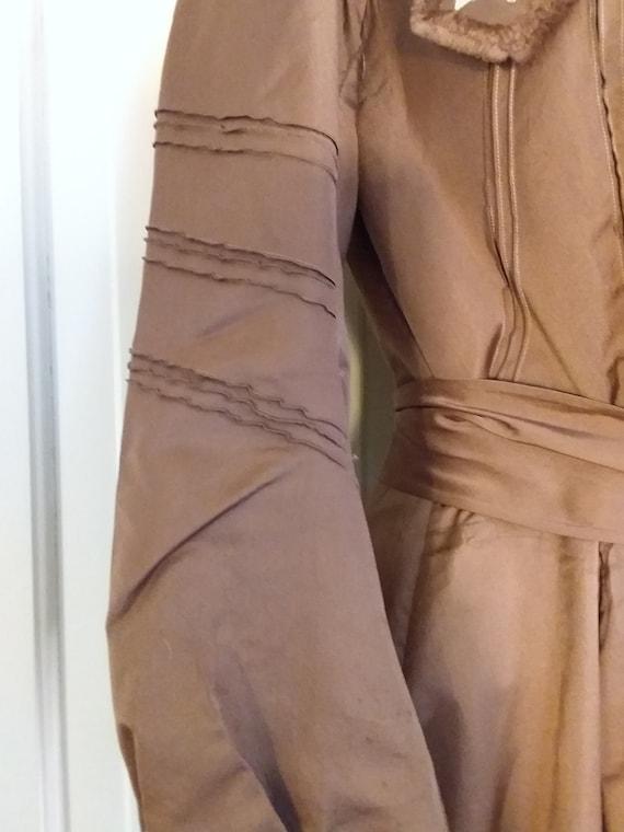 Victorian 2 Piece Brown Silk Dress Waist and Bust… - image 3