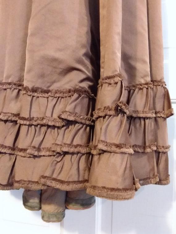 Victorian 2 Piece Brown Silk Dress Waist and Bust… - image 5