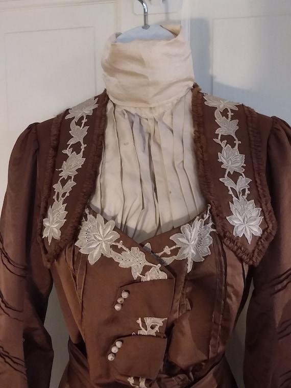 Victorian 2 Piece Brown Silk Dress Waist and Bust… - image 2
